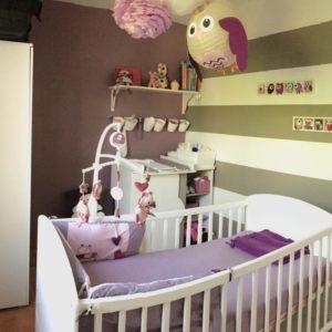 cadre mur decoration chambre fille rose lila beige hiboux oiseaux