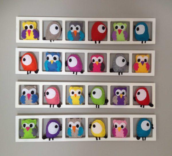 cadre mural deco chambre bebe hiboux oiseaux multicolores