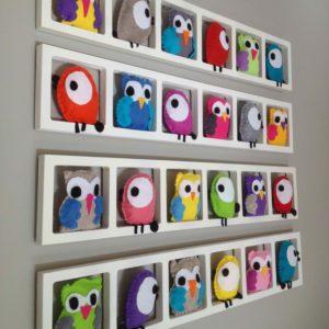 cadre mural deco chambre bebe hiboux oiseaux multicolores feutrine