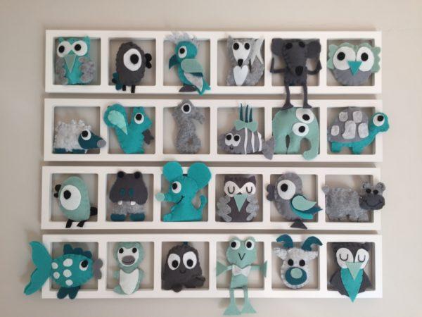 cadre décoratif mural chambre enfant animaux gris turquoise personnalise