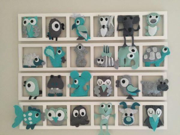 decoration murale cadre chambre enfant animaux feutrine gris aqua
