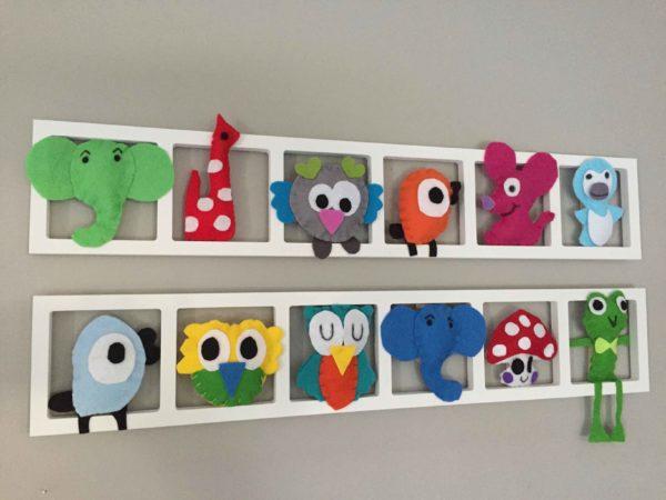 cadre mural deco chambre enfant figurines feutrine multicolores