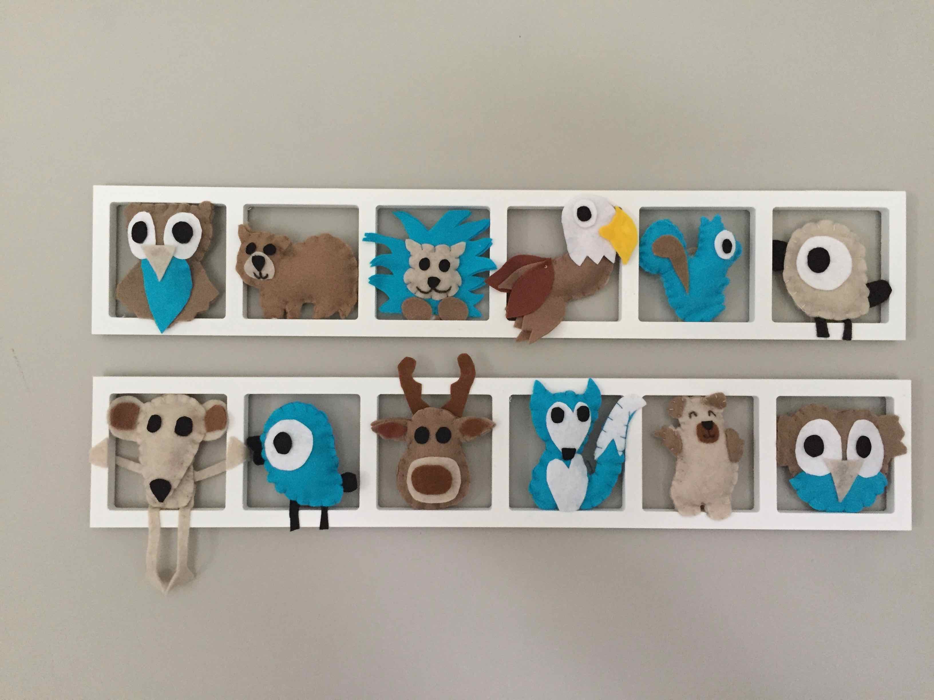 DECO MURALE «ANIMAUX DU FAR-WEST», tons taupe, beige, turquoise ...