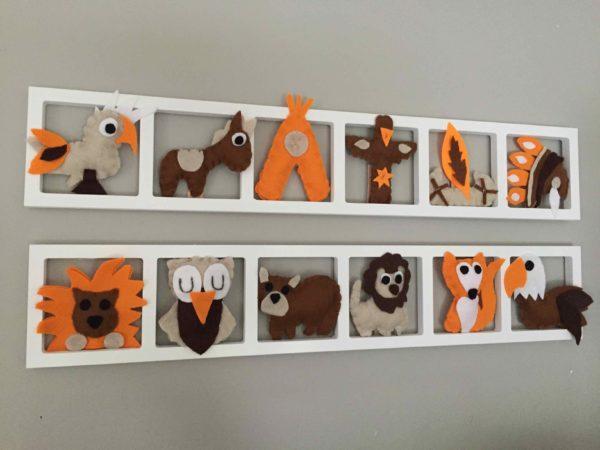 decoration murale chambre enfant theme indiens orange brun