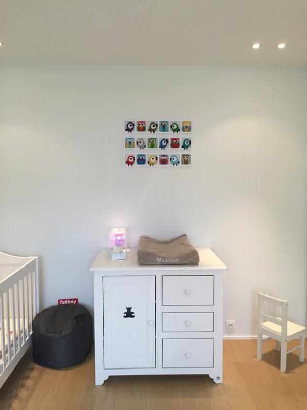 cadre deco chambre enfant hiboux oiseaux multicolores