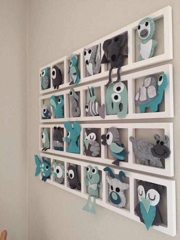 decoration murale chambre enfant animaux gris turquoise