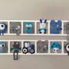 cadre decoratif mural chambre enfant theme ferme bleu et gris