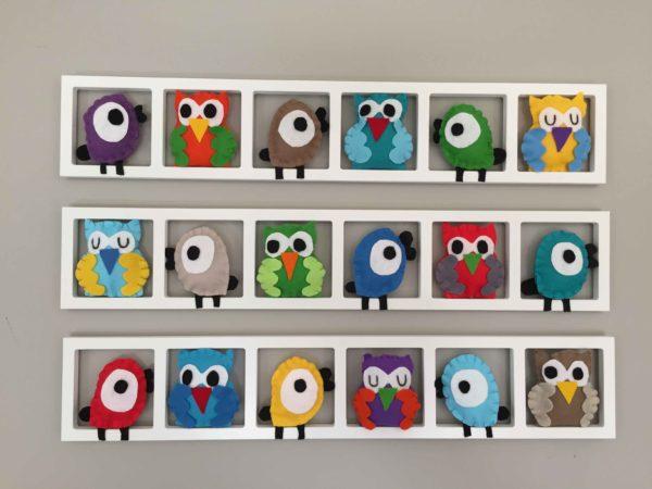 cadre mural chambre motif oiseau hibou