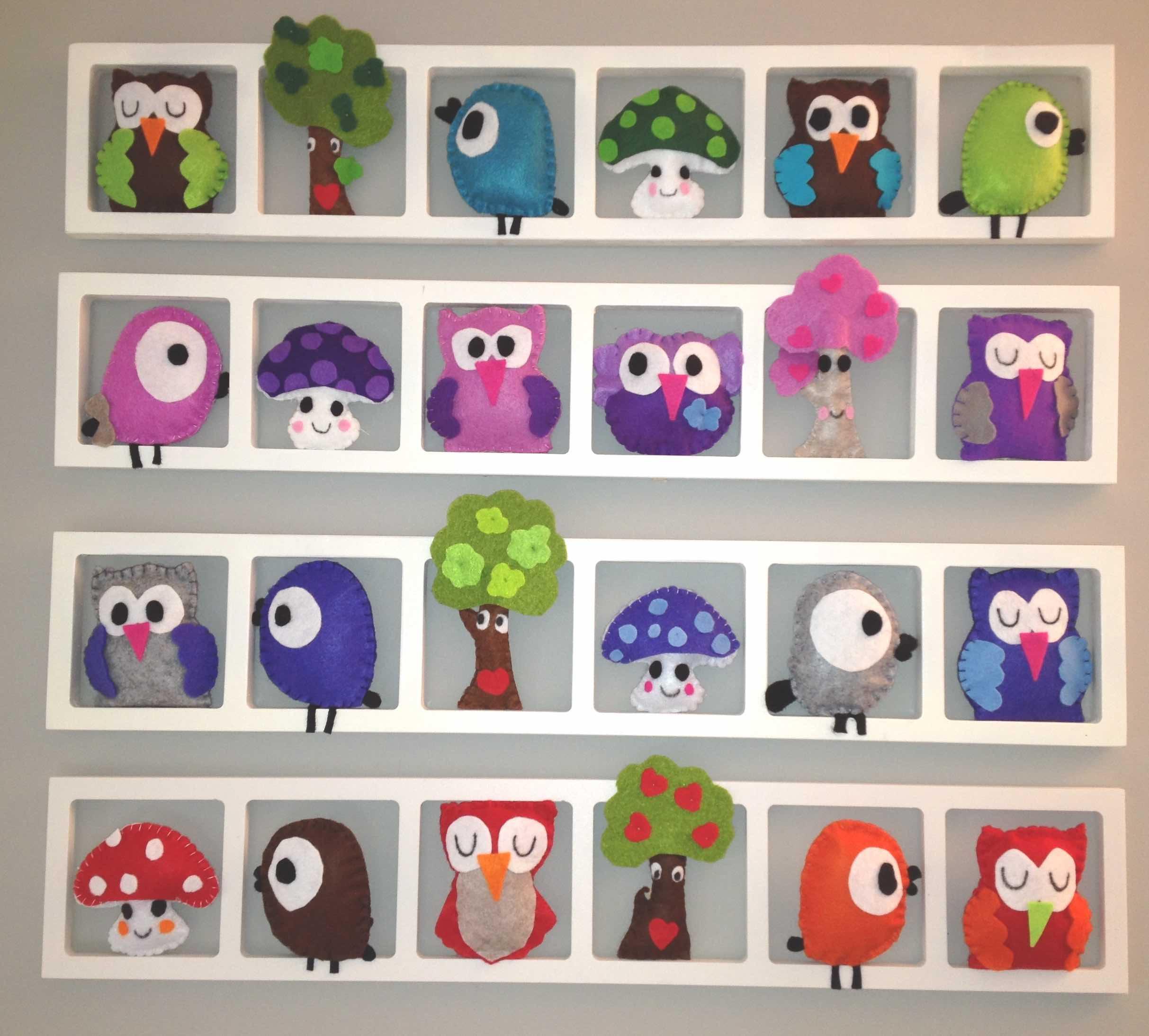 decoration mur chambre enfant hiboux oiseaux multicolores personnalise