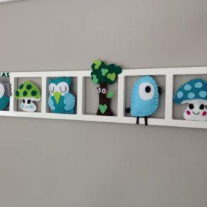 cadre mural décoratif personnalise chambre de bebe. Tons turquoise, gris, vert