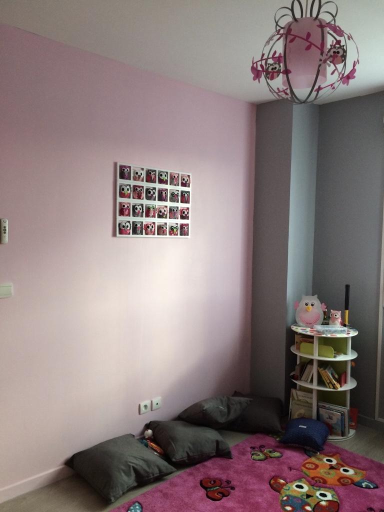 Decoration mur chambre bebe fille hiboux oiseaux rose gris Chambre gris rose