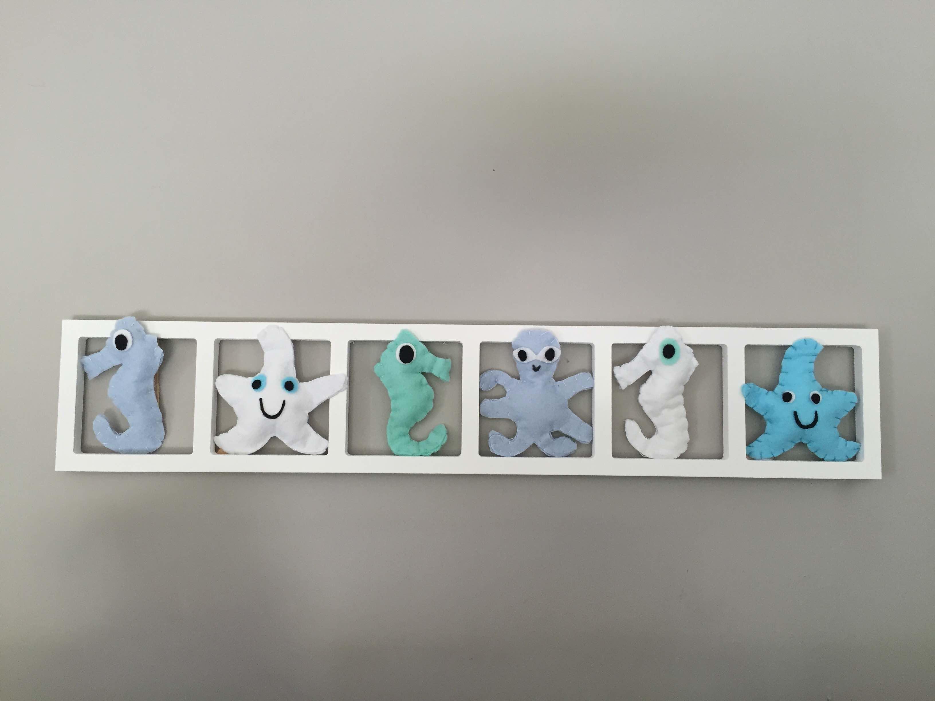 DECO MURALE « CREATURES DES MERS», tons bleu et blanc, BICHAT 16