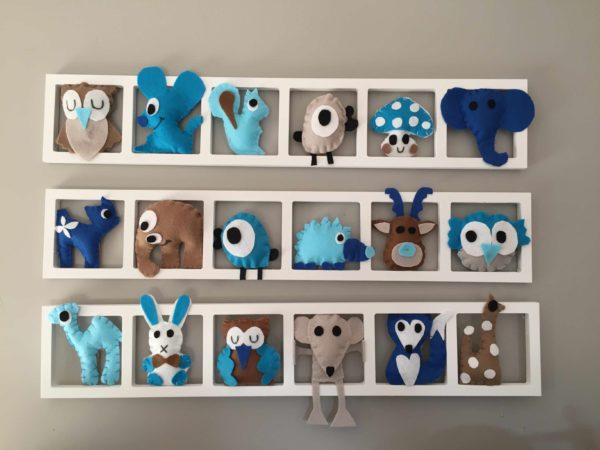 Deco Chambre bebe, decoration murale, animaux tons bleu beige taupe