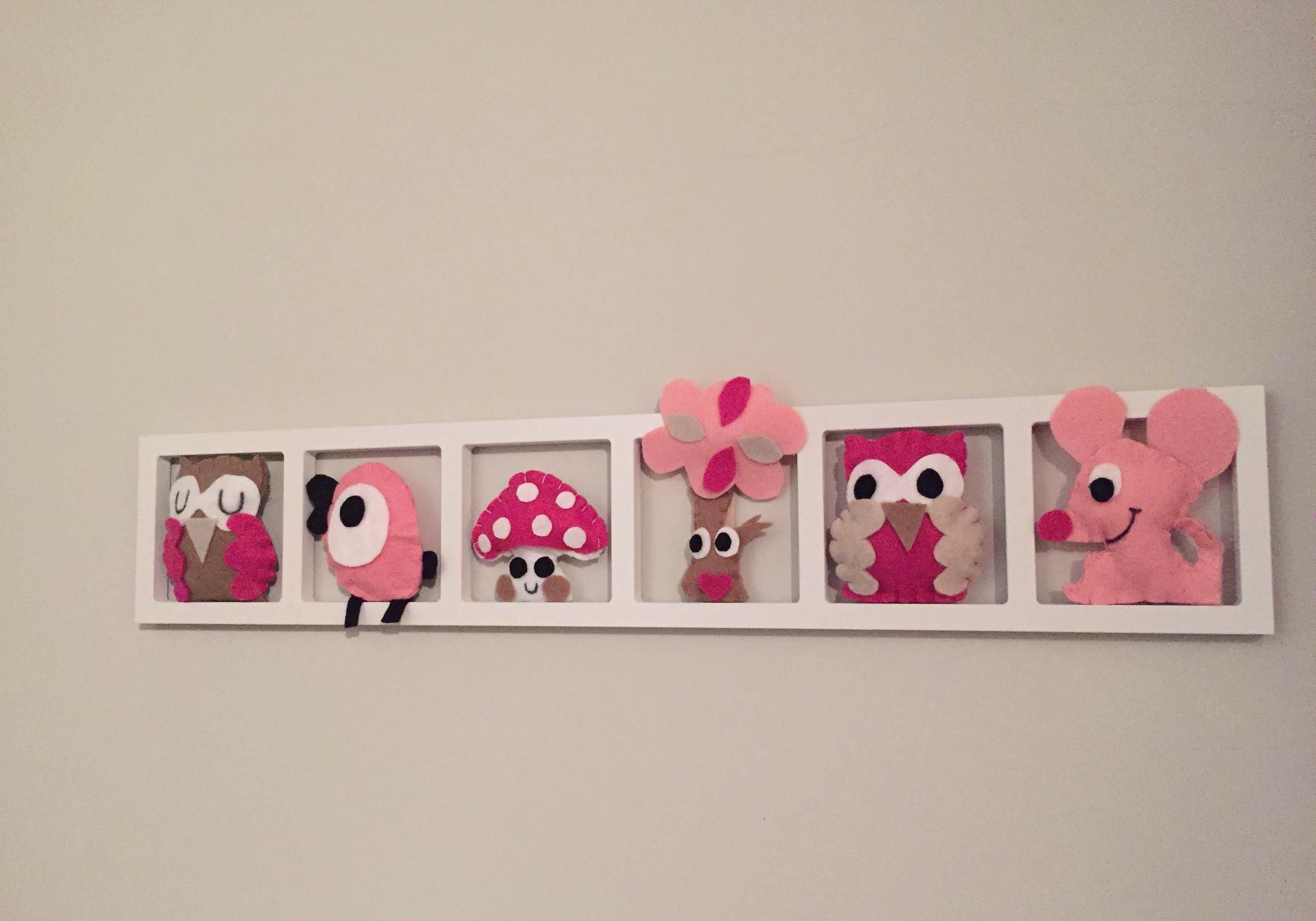 Deco Chambre Bebe Fille deco murale « le bois rosa», rose pale beige, bichat 137