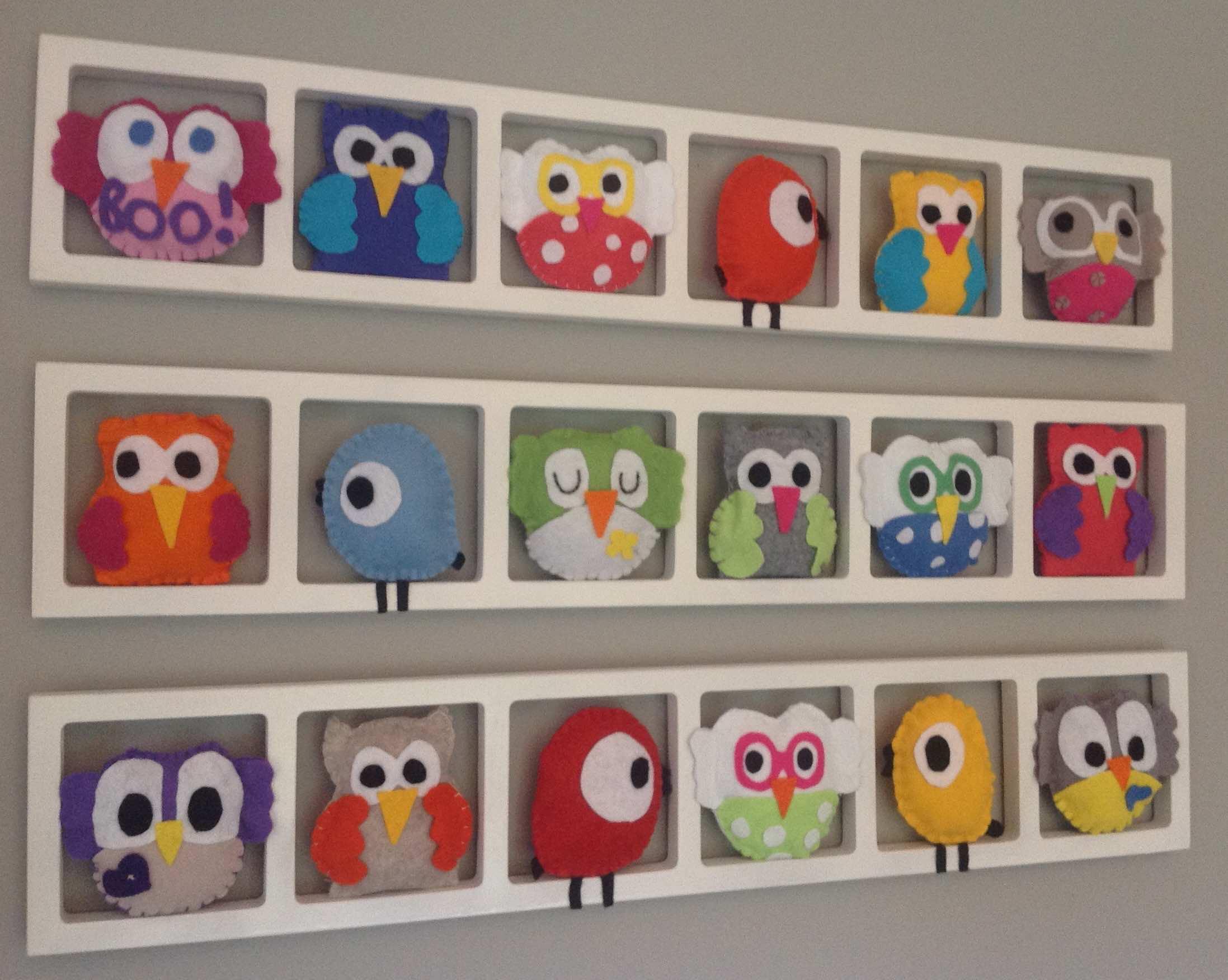 Deco Chambre bebe, decoration murale, hiboux oiseaux multicolores