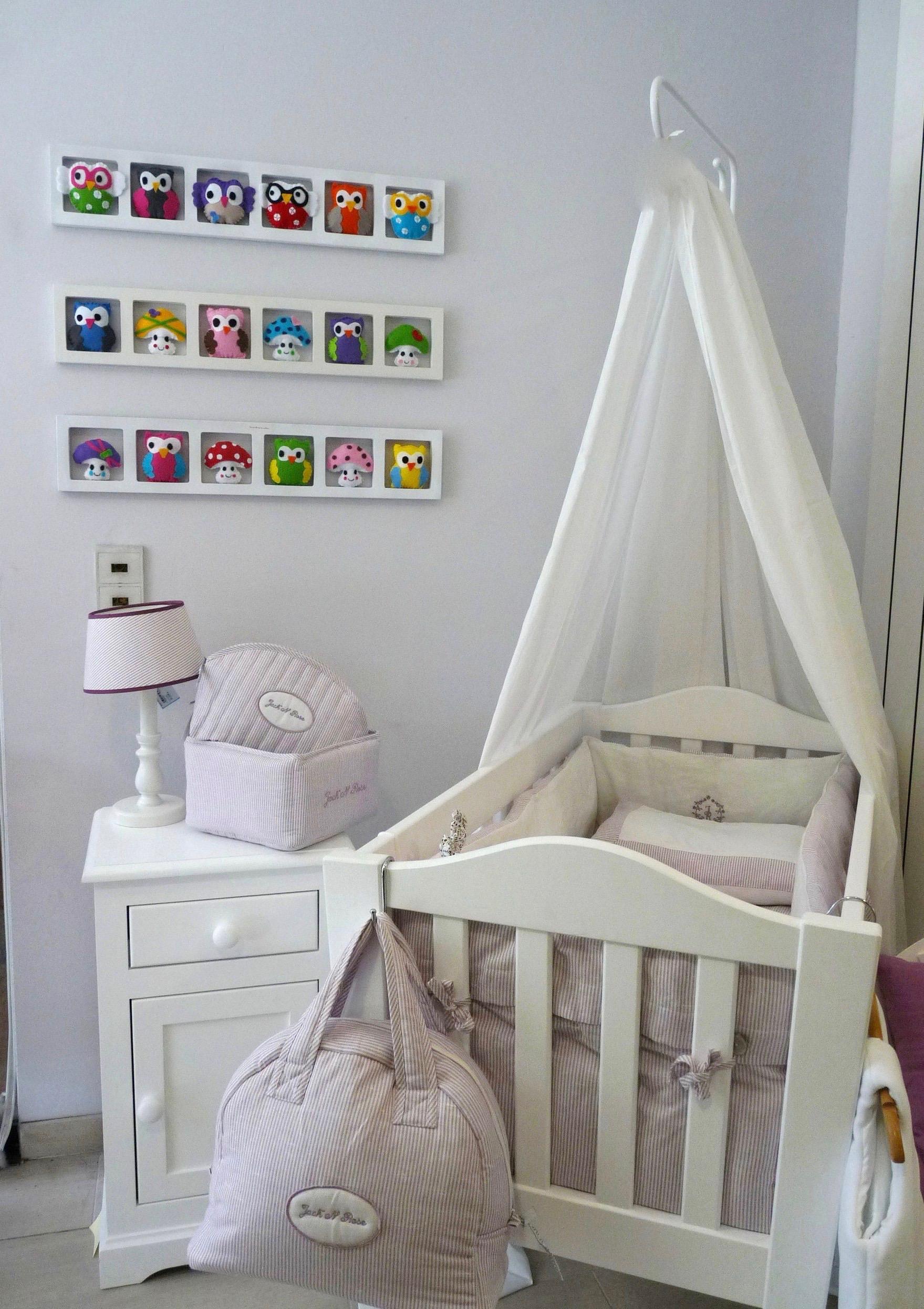 decoration mur chambre bebe fille hiboux oiseaux rose gris. Black Bedroom Furniture Sets. Home Design Ideas