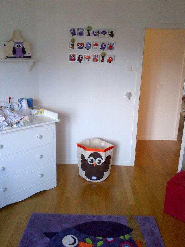 Decoration chambre enfant personnalisée hiboux oiseaux