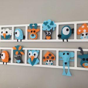 CADRE DECO CHAMBRE ENFANT« BICHAT FRIENDS», tons turquoise et orange, BICHAT 040