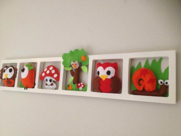 cadre mural chambre bebe figurines brun orange vert theme foret