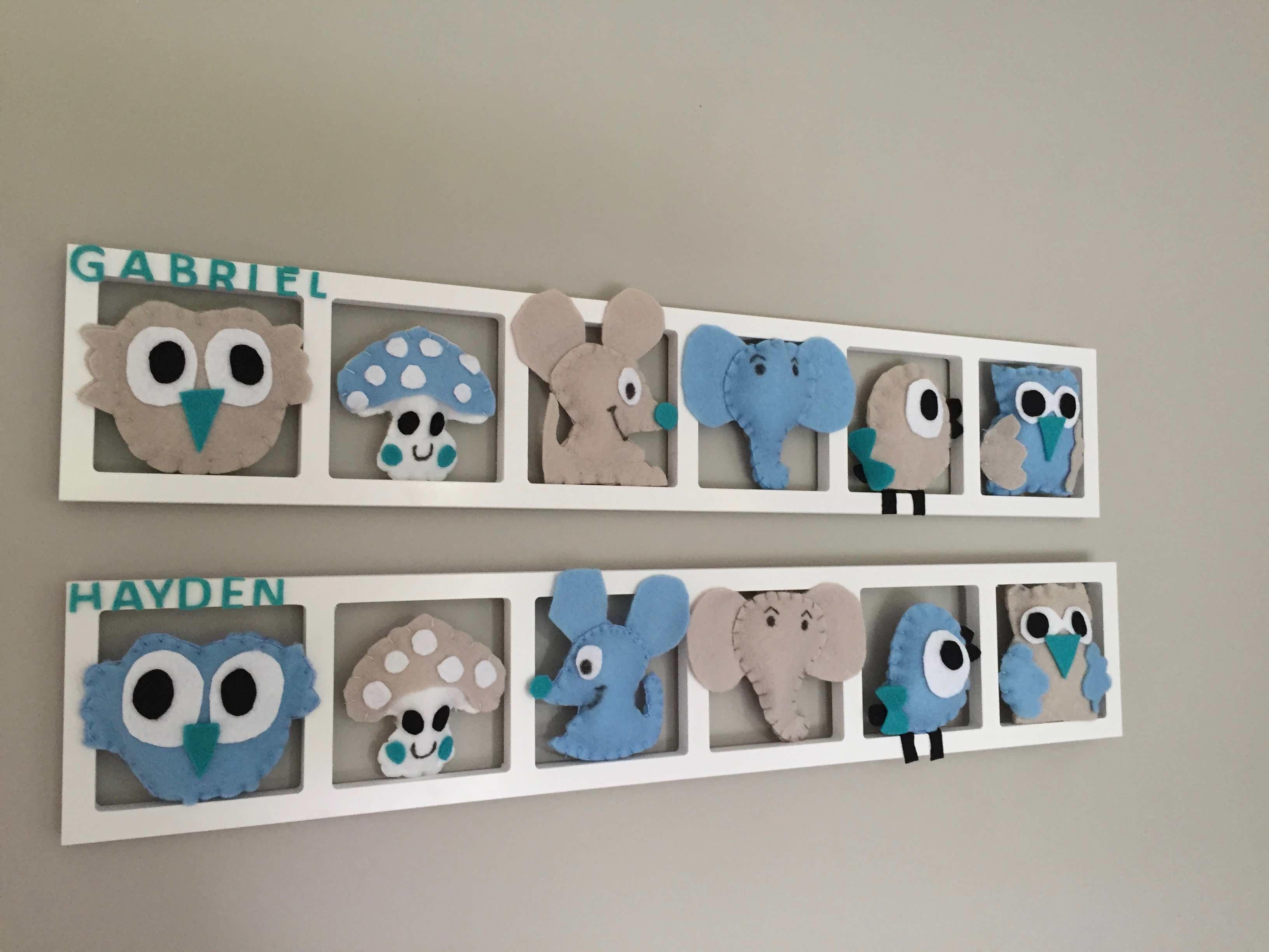 Decoration Murale Chambre Enfant Et Bebe Tons Bleus Pastels Beige . Cadeau  De Naissance Original Personnalise