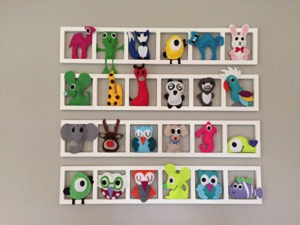 cadre decoratif mural pour chambre enfant animaux en feutrine multicolores