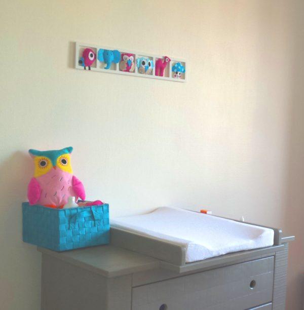 cadre deco chambre enfant bleu rose beige