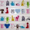 cadre mural décoratif pour chambre de bebe. Figurines en feutrine animaux multicolore.
