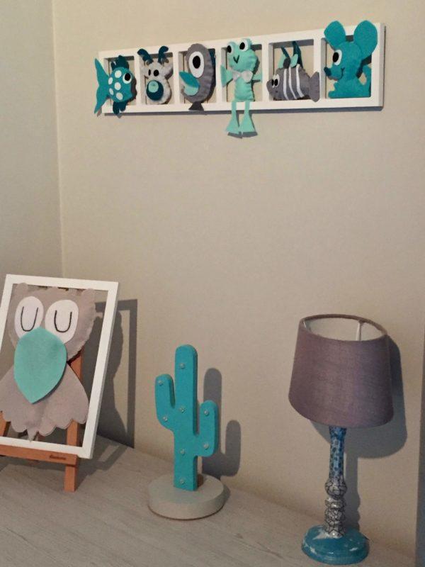 decoration murale chambre enfant turquoise gris figurines feutrine