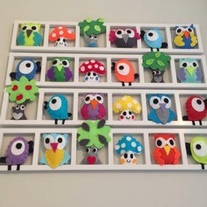 Cadre deco murale chambre enfant multicolore hiboux oiseaux
