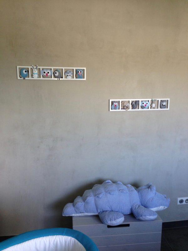 Decoration chambre enfant personnalisée bleu beige taupe