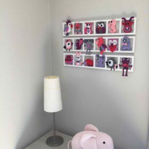 Deco Chambre bebe fille, animaux rose gris fushia, cadeau personnalisé