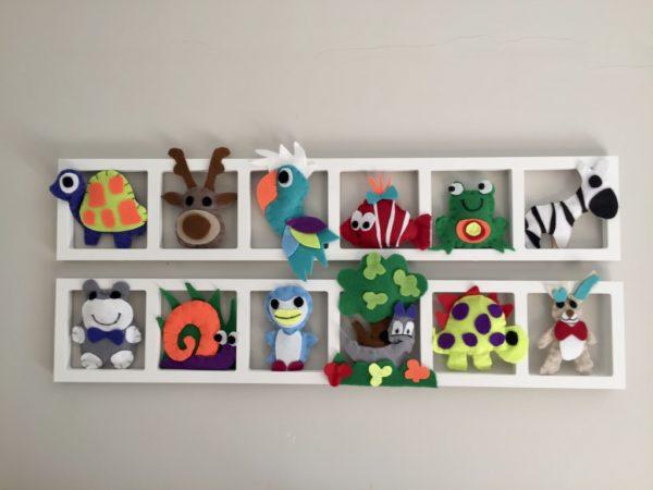 cadre mural deco chambre enfant avec animaux multicolores en feutrine