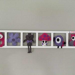 Cadre mural deco chambre enfant animaux rose lila gris