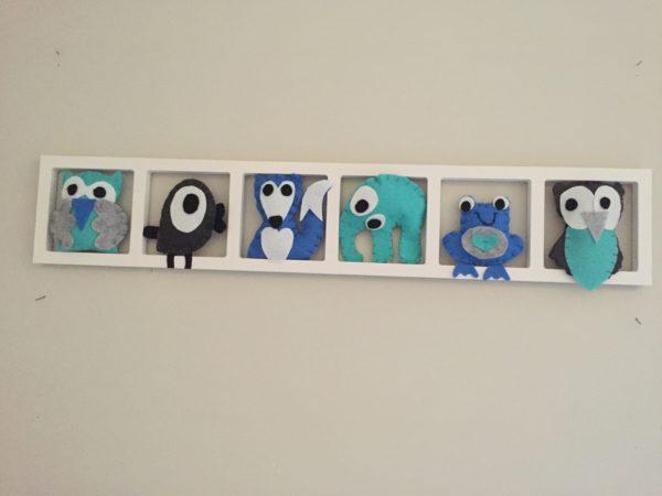 decoration mural chambre enfant bleu turquoise gris