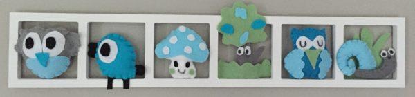 Décoration murale chambre enfant. Cadre avec animaux des bois en feu