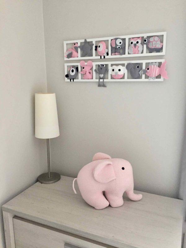 chambre fille rose pale gris