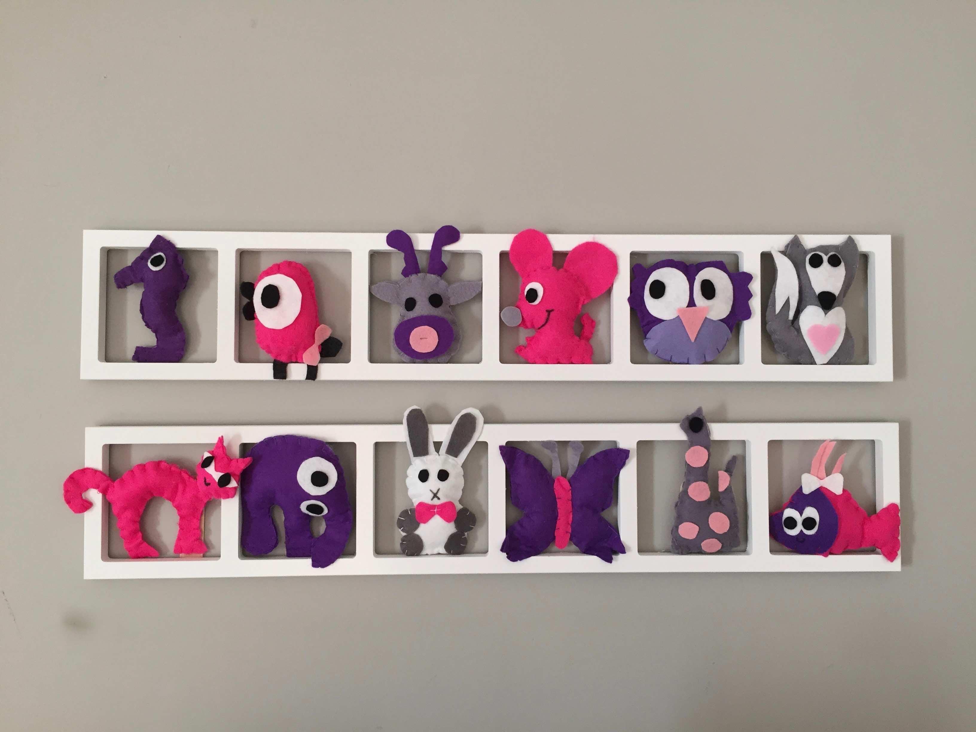 Cadre Mural Deco Chambre Enfant Animaux Rose Lila Mauve Gris