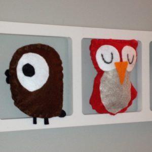 Cadre mural deco chambre enfant animaux rouge et brun