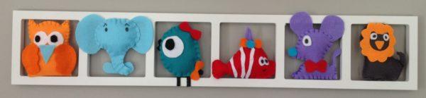 deco chambre enfant orange bleu rouge gris
