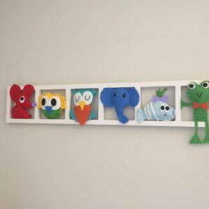 cadre deco chambre animaux colores en feutrine