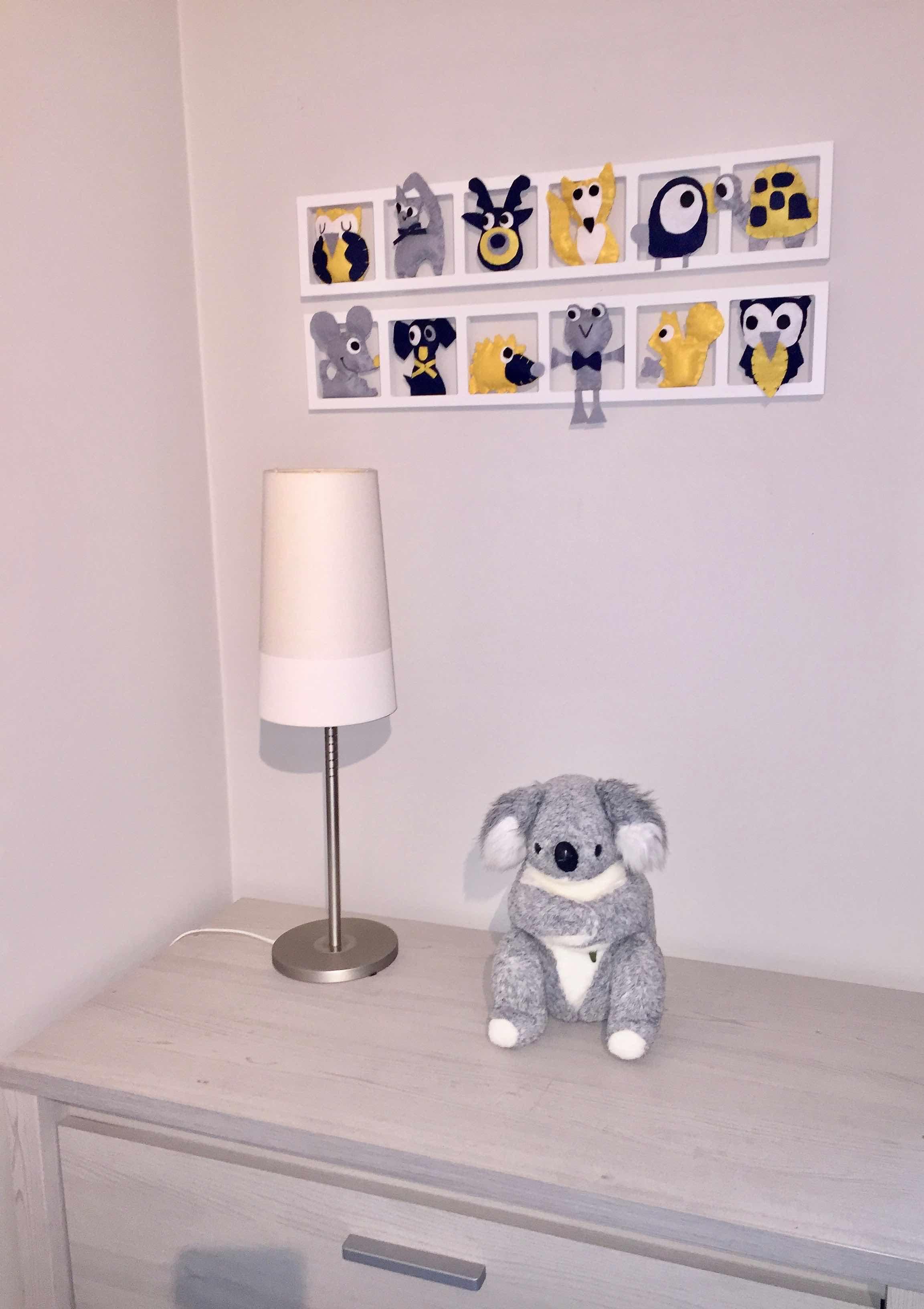 DECO CHAMBRE ENFANT « MOUSTACH »,jaune moutarde, gris, bleu BICHAT 20