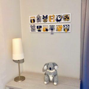 DECO CHAMBRE ENFANT « MOUSTACH »,jaune Moutarde, Gris, Bleu BICHAT 209    Bichat And Friends
