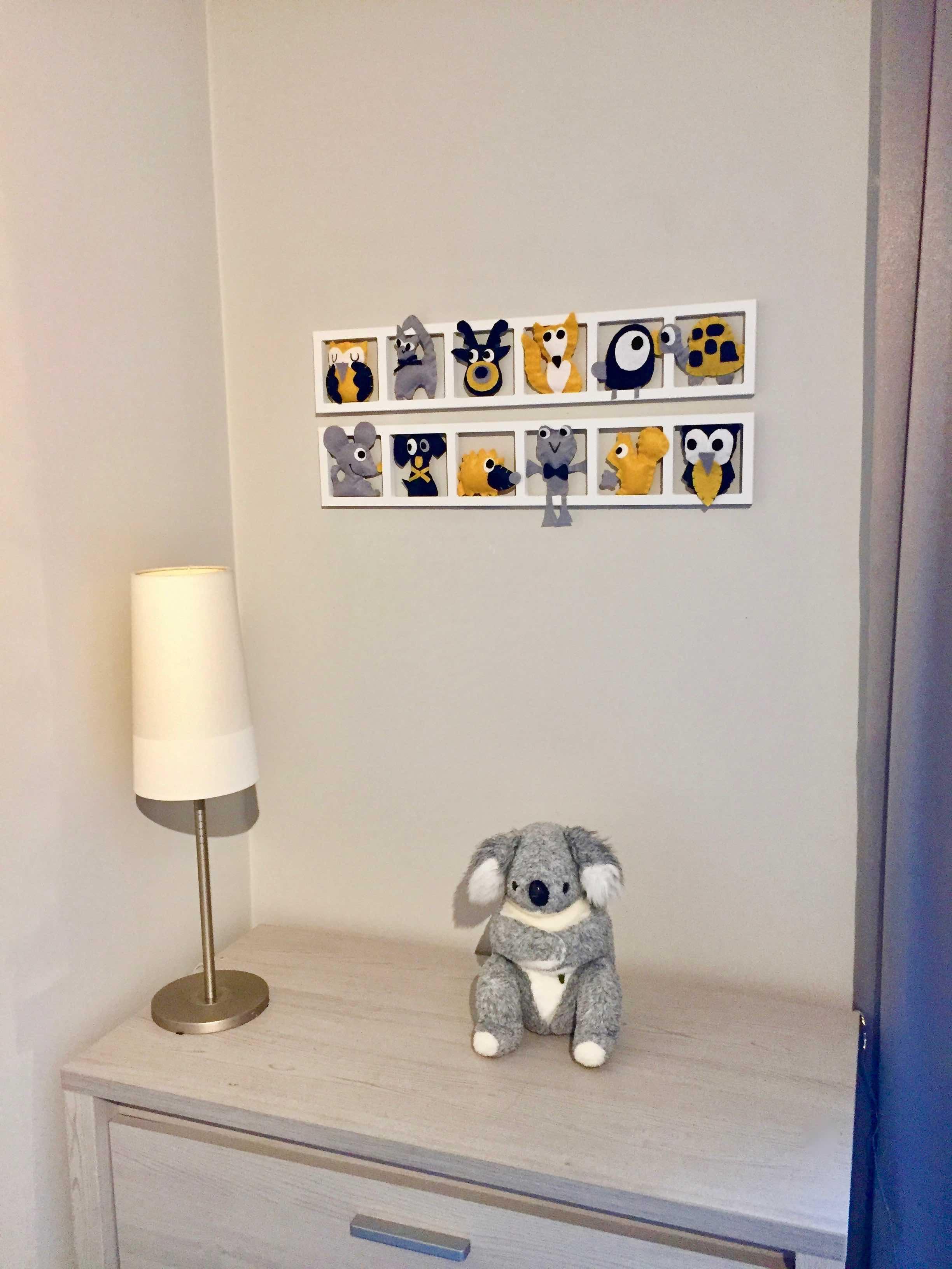 DECO CHAMBRE ENFANT « MOUSTACH »,jaune moutarde, gris, bleu BICHAT 18