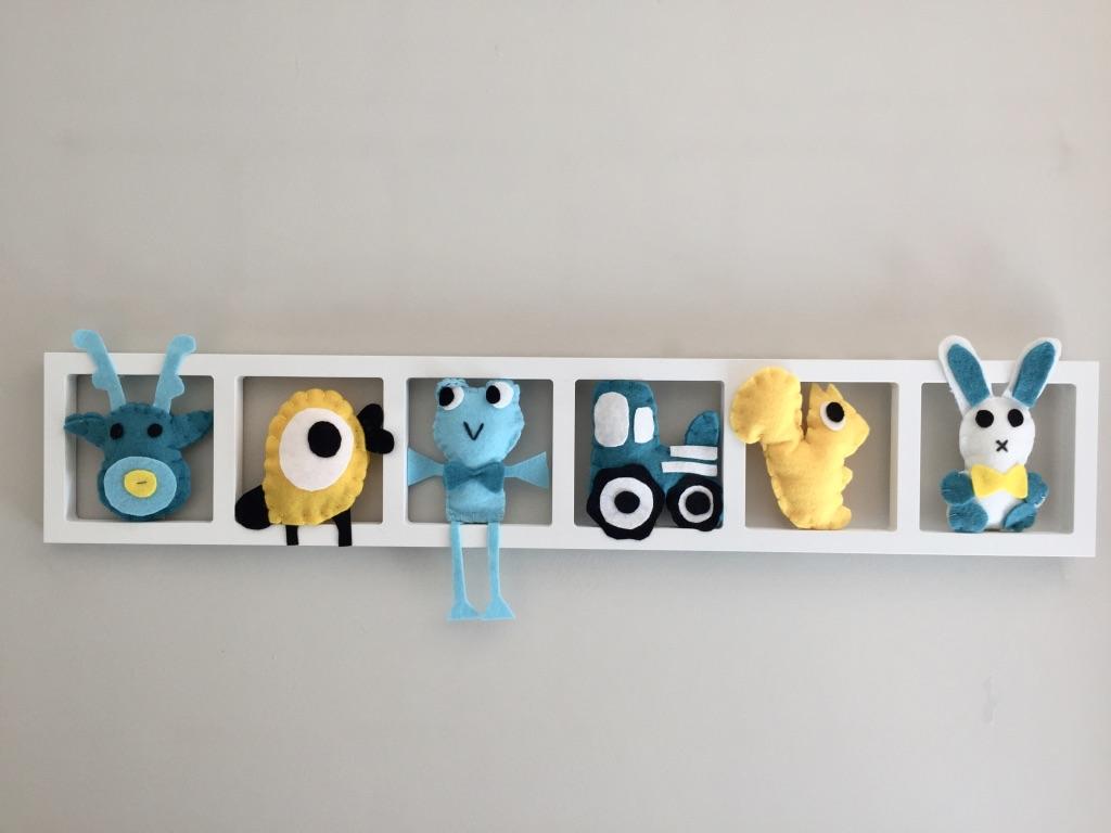 Décoration chambre garçon, chambre fille, animaux turquoise gris jaune